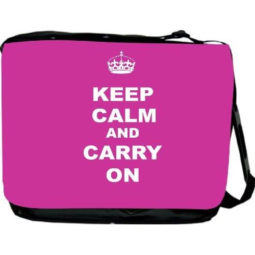 Rikki KnightTM Keep Calm and Carry On   Pink Rose Messenger Bag   Book Bag   School Bag   With Matching Neoprene Pencil Case with zipper