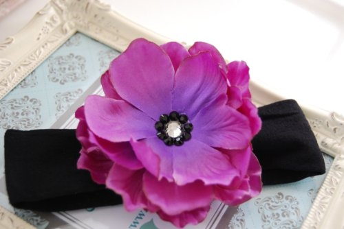 Beautiful Large Purple Anemone with Jet Black and Black Diamond Swarovski Crystals Center on Soft, Stretchy Black Nylon Headband. Fits Baby up to Young Girl.