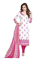 Ishin Synthetics French Crepe White & Pink Printed Unstitched Dress Material