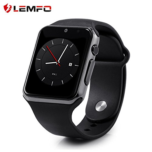 LEMFO IW08 Smart Watch Cell Phone Fitness Tracker Bluetooth WristWatch with Camera for Android Smartphones (All Black)