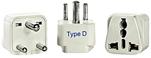 Ceptics India Travel Plug Adapter (Type D) - 3 Pack [Grounded & Universal] (Adaptor Plugs For India compare prices)