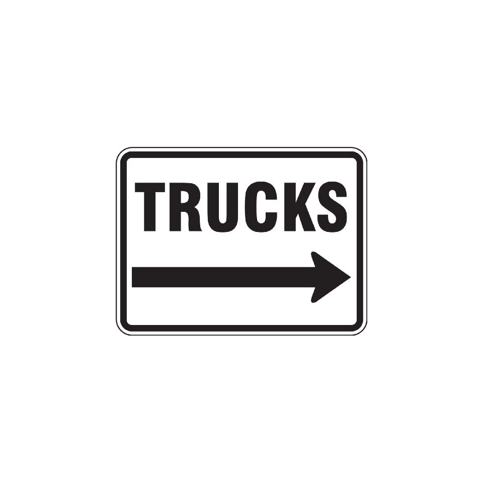 Accuform Signs FRR280RA Engineer Grade Reflective Aluminum Facility Traffic Sign, Legend TRUCKS (ARROW RIGHT), 18 Length x 24 Width x 0.080 Thickness, Black on White