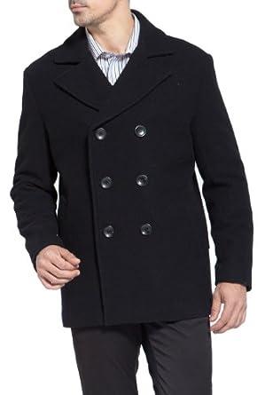 BGSD Men's Classic Wool Blend Pea Coat - Black Medium