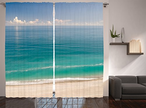 Ambesonne Ocean Decor Collection, Quiet Tranquil Beach with Green Sea under Clear Sky Picture, Window Treatments, Living Room Bedroom Curtain 2 Panels Set, 108 X 90 Inches, Aqua Blue Green Ivory (Tranquil Pictures compare prices)