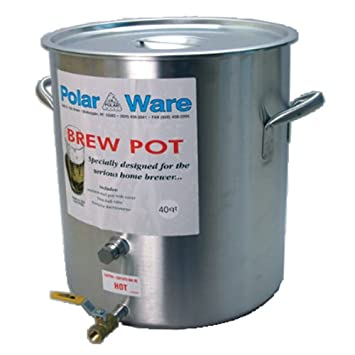 Ball Valve and Hex Plug 32-Quart Polar Ware Stainless Steel Brew Pot with Cover