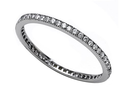 0.58 cttw Zoe R(tm) Platinum Plated Silver Micro Pave Hand Set Cubic Zirconia (CZ) Stackable Eternity Band Size 6