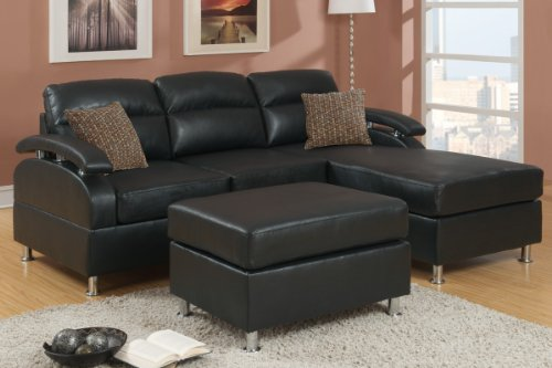 Poundex Bobkona 3-Piece Bonded Leather Sectional Sofa, Ebony