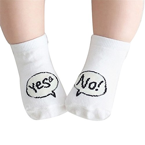 [24-48 months Unisex Baby Boy Girls Socks with Cartoon Design, Infant Anti Skid Cotton Stockings - White Yes and] (Animals That Start With The Letter M)