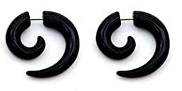 Thenice 1 Pairs 16 Gauge 1.2mm Black Acrylic Snails Ear Expansion Earrings Studs (Black 4mm)