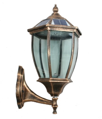 Large Outdoor Solar Powered Led Wall Light Lamp (Bronze-7401)