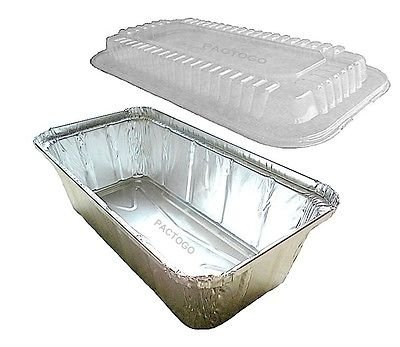 D&W Fine Pack 2 lb. Aluminum Foil Closable (Ivc) Loaf/Bread Pan Tins w/Dome Lid (pack of 100)