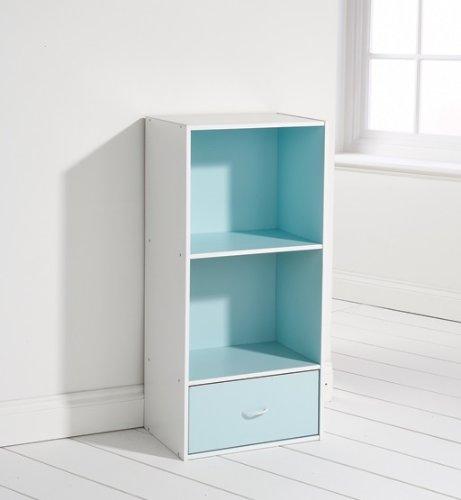 Kids Bedroom Storage System Pale Blue White 2 Shelf 1 Drawer Play Room Tidy