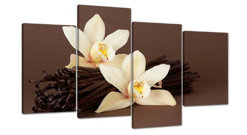 Brown Orchid Flower Floral Canvas Wall Art Pictures Set Prints XL 4121