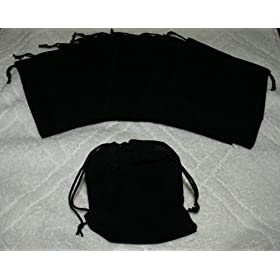 (10) Large Velvet Black Pouches With Drawstrings