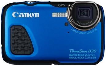 """Canon Powershot D30 Appareil photo numérique compact 12,1 Mpix Écran LCD 3"""" Zoom optique 5X Bleu"""