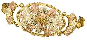 Stamper Black Hills Gold Women's Expansion Bracelet. 12K Black Hills Gold Leaves with 10K Black Hills Gold Grapes and Frame. BE44