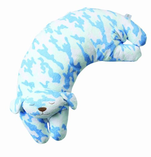 Angel Dear Curved Pillow, Blue Camo Puppy