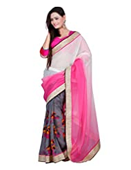 7 Colors Lifestyle Pink & Grey Coloured Bhagalpuri & Georgette Embroidered Saree