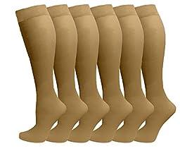 Ladies 6 Pair Pack Compression Socks (Beige)