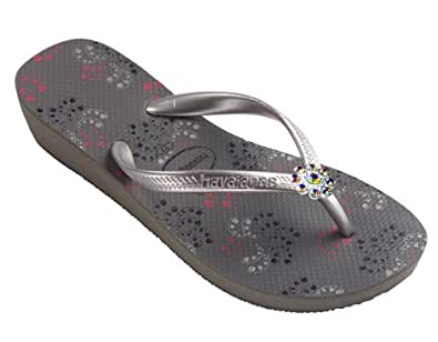 Amazon.com: Dini's HAVAIANAS Jeweled Flip Flops, Metallic Wedgie