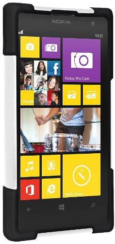 Amzer Amz96175 Amzer Double Layer Hybrid Case Cover With Kickstand For Nokia Lumia 1020 - Skin - Retail Packaging - Black/ White