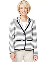Classic Collection Tipped 2 Button Striped Blazer