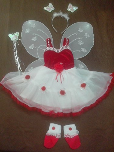 Baby Girl Birthday Party Costume fancy dress frock set with Butterfly wings TR01