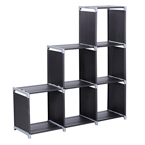 Songmics 3 Tier Storage Cube Closet Organizer Shelf 6 Cube Cabinet Bookcase  Black ULSN63H