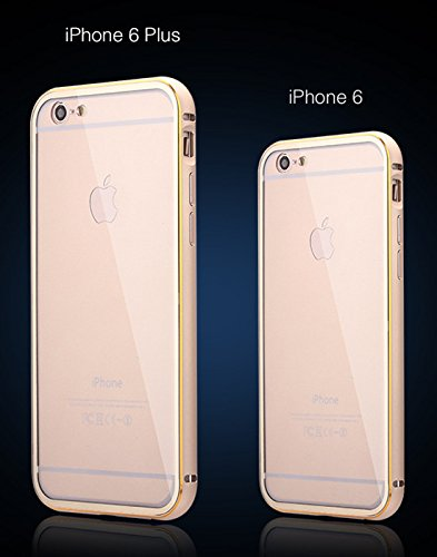 Gloden Metal Aluminium Frame Back Case Cover + (0.25mm Tempered Glass Film Screen Protector) For Apple iPhone 6 Plus 5.5