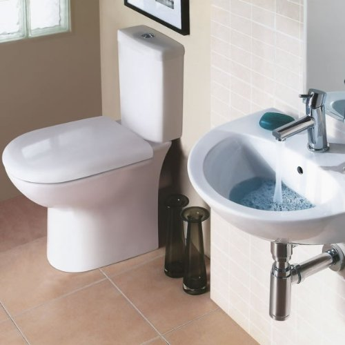 Modern White Ceramic Bathroom Cloakroom Short Projection Toilet WC and Wall Hung Basin Suite
