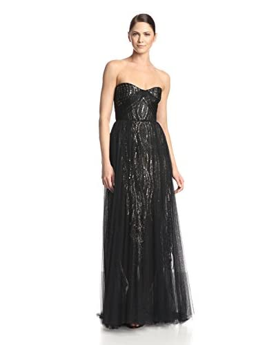 Monique Lhuillier Women's Strapless Draped Tulle and Embroidered Gown