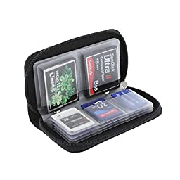 GGS Universal Memory Card Storage Carrying Case (8 Pages, 22 Card Compartments) Black