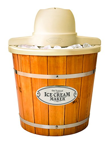 Big Save! Nostalgia ICMP400WD Vintage Collection 4-Quart Wood Bucket Electric Ice Cream Maker with Easy-Clean Liner