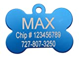 "Blue Bone Shape Pet Tags Ships Within 24 Hours Enter Tag Details in ""Gift Message Area At Checkout"""
