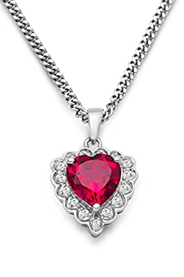 Miore women's 925 Sterling Silver Ruby Red and Diamonds Heart Pendant on 45cm Chain