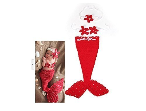 Winglife Newborn Baby Girl Crochet Mermaid Three-piece Outfit Set Costume Photo Prop - 1