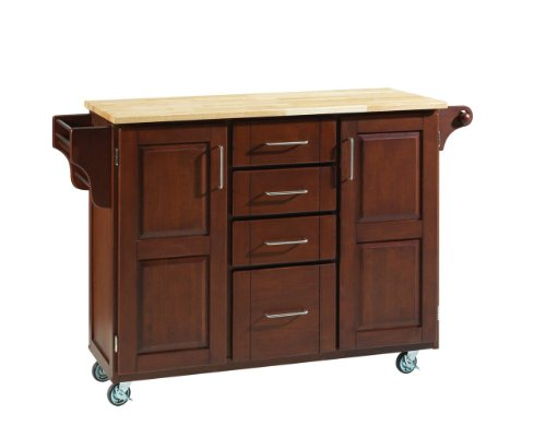 Cheap Home Styles Large Kitchen Cart With Wood Top – Natural/Medium Cherry – 9100-1071 (9100-1071)