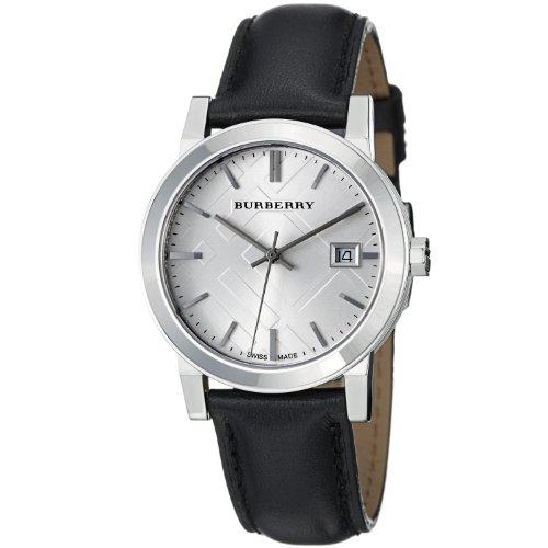 Burberry Women's BU9106 Large Check Black Leather Strap Watch