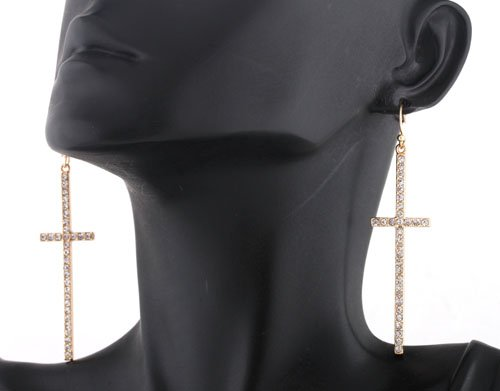 Ladies Gold with Clear Iced Out Ellongated Style Cross Dangle Earrings