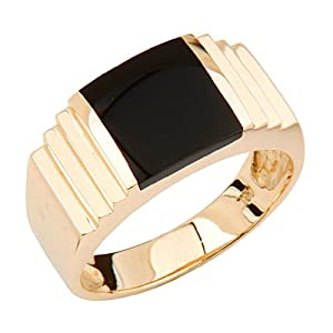 14K Yellow Gold 10.5mm High Polish Black Onyx Men's Ring - Size 12