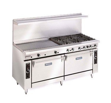 "Imperial Commercial Restaurant Range 72"" 4 Burner 48"" Griddle Oven/Cab Nat Gas Ir-4-G48-Xb"