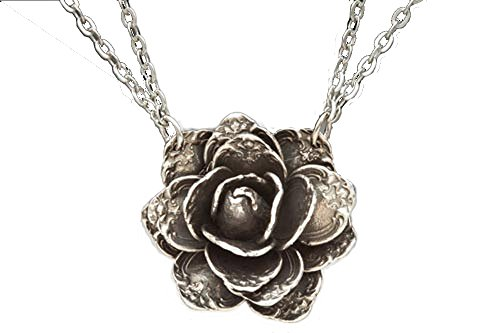 Silver Spoon Blooming Flower Double Link Chain Necklace Rose FND