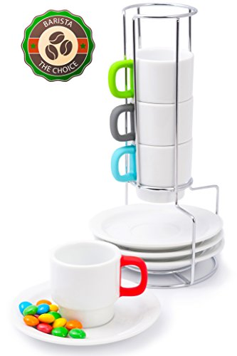 Coffee Cups Doubleshot Espresso Stackable- Italy Design White Porcelain Demitasse Cup for Restaurant Turkish Coffee- Bright Handles Protect Against Burns- 4 Cup 70ml/2.4oz with Saucers- Chrome Rack (Espresso Cup Stand compare prices)