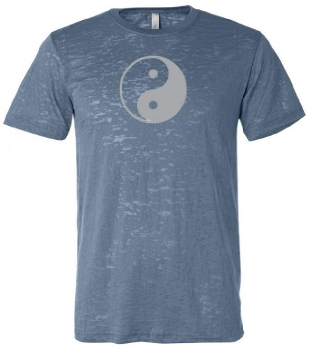 Yoga Clothing For You Yin Yang (Large Print) Mens Burnout Tee, Large Steel Blue