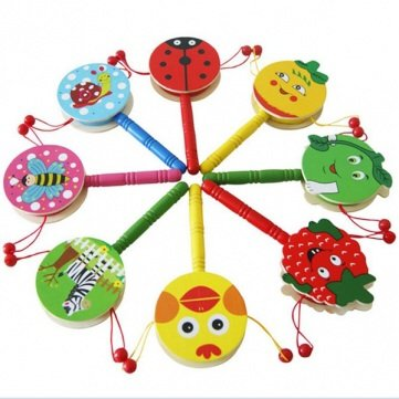 Baby Shaking Rattle Cartoon Wooden Hand Bell Drum Kids Baby Toy/Send Randomly front-49027