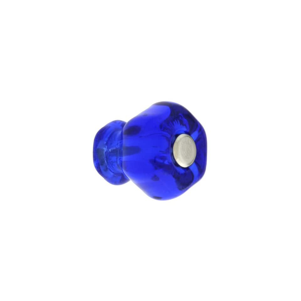 Small Hexagonal Cobalt Blue Glass Cabinet Knob With Nickel