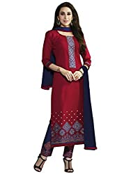 Red Color Cotton Embroidered Straight Salwar Suit Unstitched Dress Materials