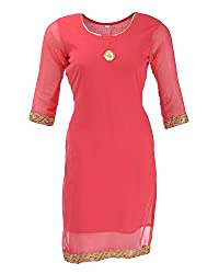 NelNik Women's Georgette Regular Fit Kurta (Nel008_S_Small, Pink, Small)
