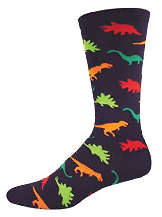 amazoncom socksmith mens dinosaur crew socks 1 pair one