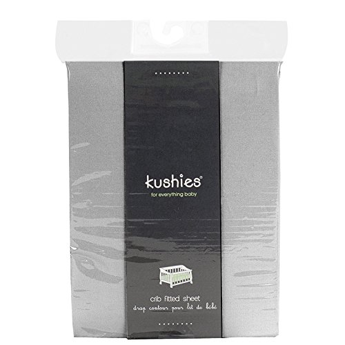 Kushies Baby Percale Fitted Crib Sheet, Grey - 1